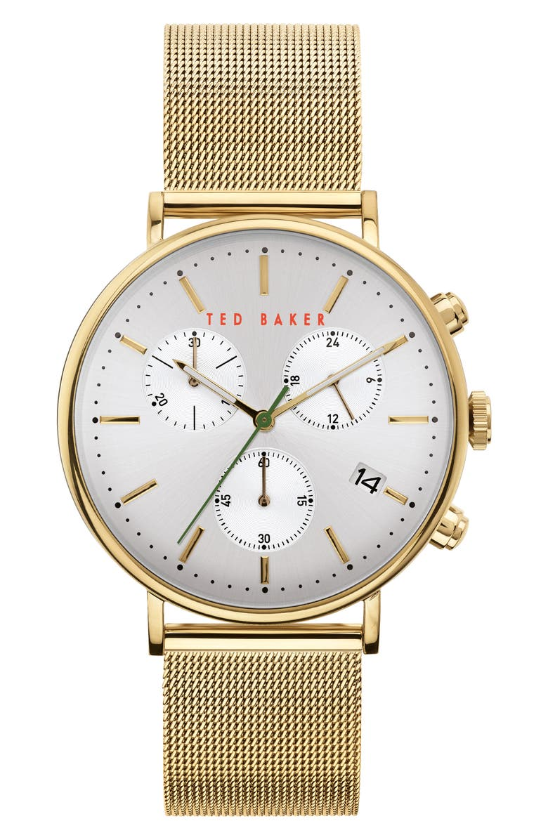 TED BAKER LONDON Mimosaa Chronograph Mesh Strap Watch, 41mm, Main, color, GOLD/ SILVER/ GOLD