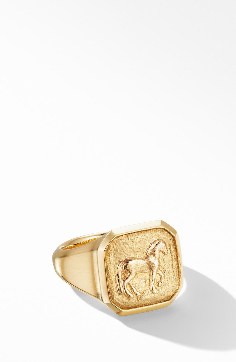 DAVID YURMAN Petrvs<sup>®</sup> Small Horse Pinky Ring in 18K Yellow Gold, Main, color, YELLOW GOLD