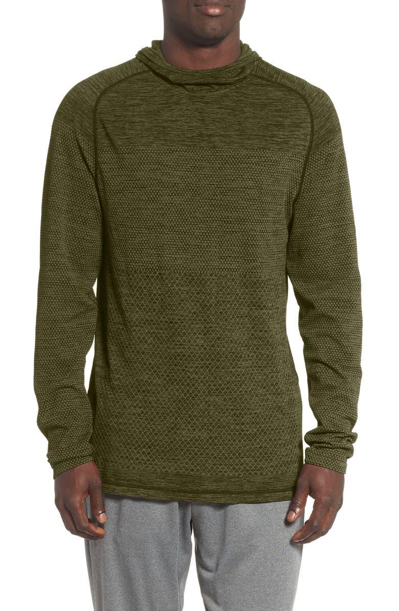 ZELLA Seamless Performance Pullover Hoodie, Main, color, GREEN CYPRESS MELANGE
