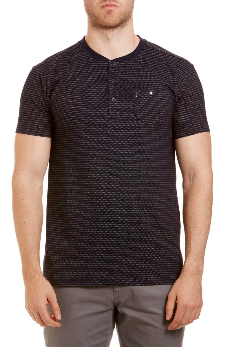BEN SHERMAN Stripe Cotton Henley T-Shirt, Main, color, NAVY