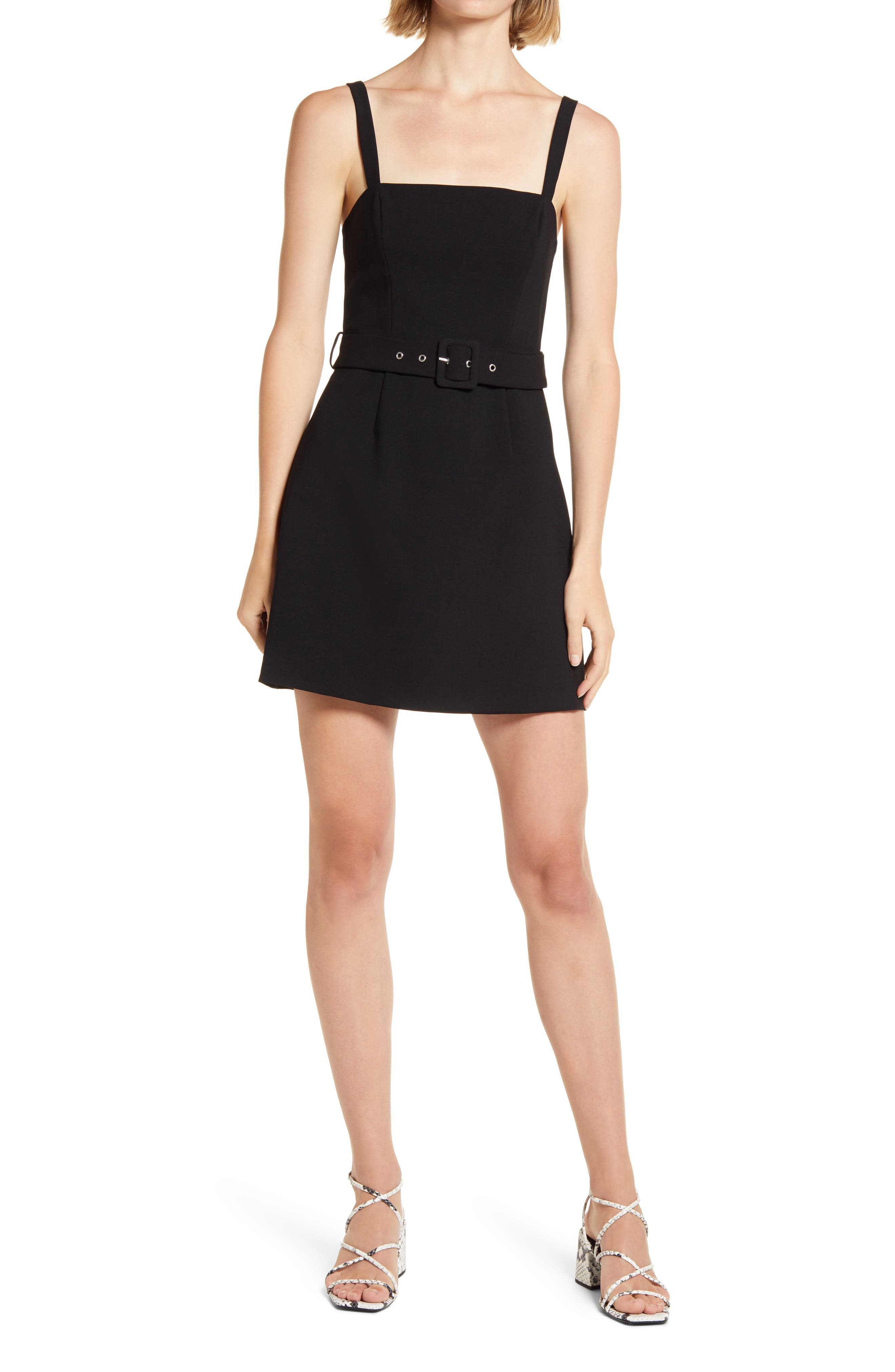 Belted Straight Neck Dress
