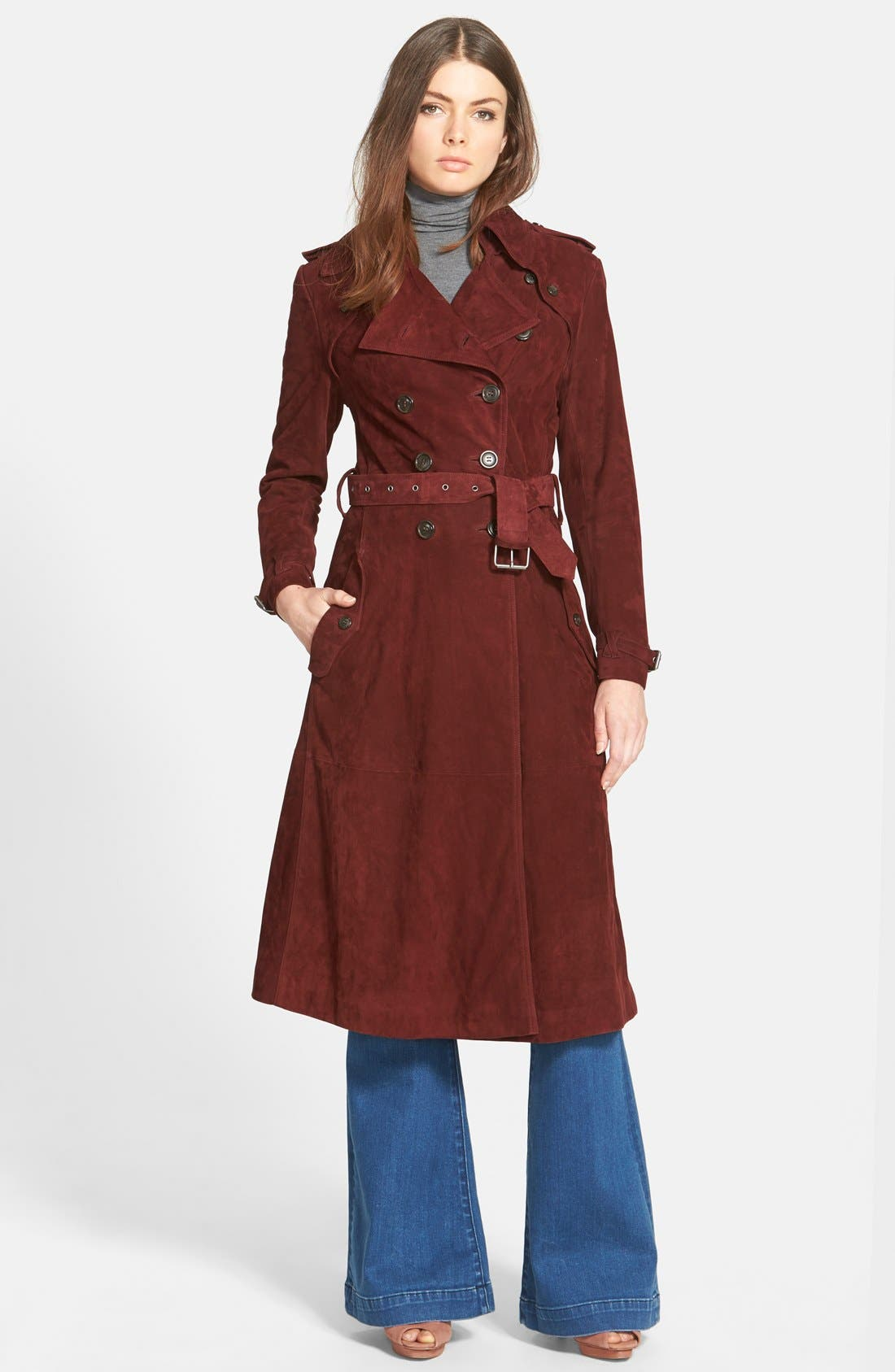 ,                             Rebecca Minkoff 'Amis' Suede Trench Coat,                             Main thumbnail 1, color,                             930