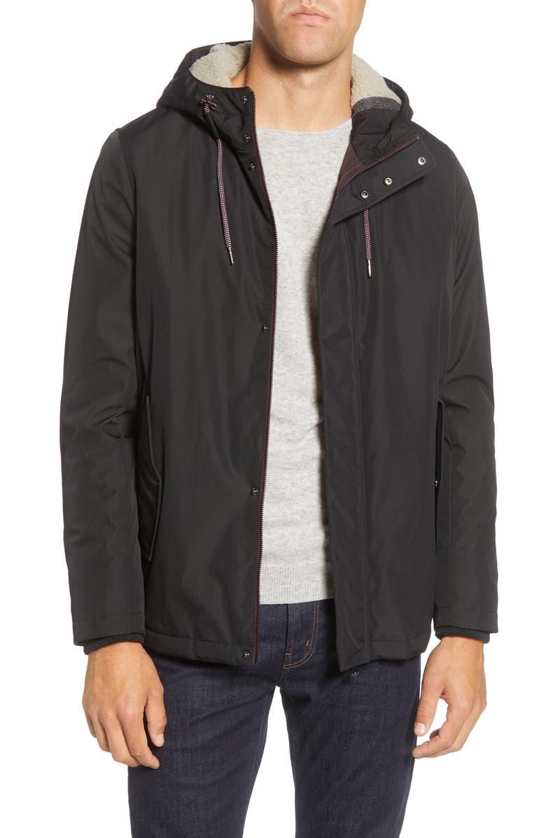 TED BAKER LONDON Kinvara Slim Fit Hooded Jacket, Main, color, BLACK