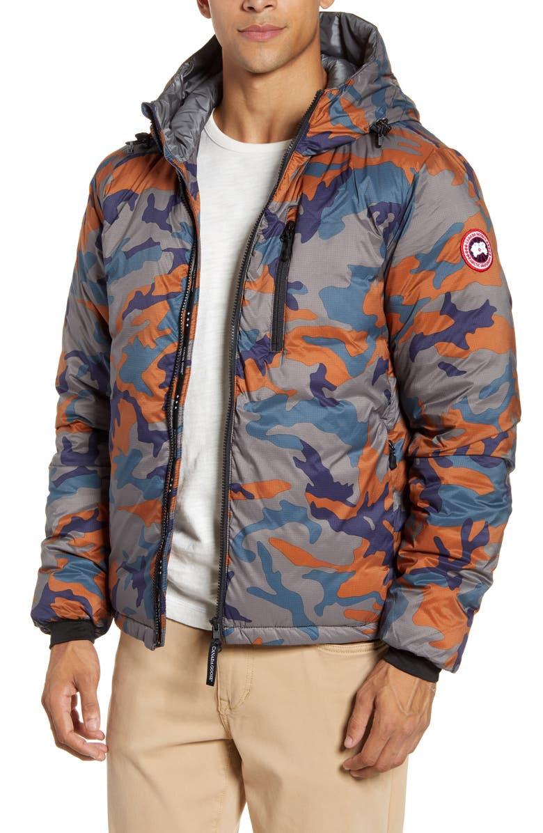 CANADA GOOSE Lodge Slim Fit Packable 750 Fill Power Down Hooded Jacket, Main, color, CLASSIC CAMO/ RUST