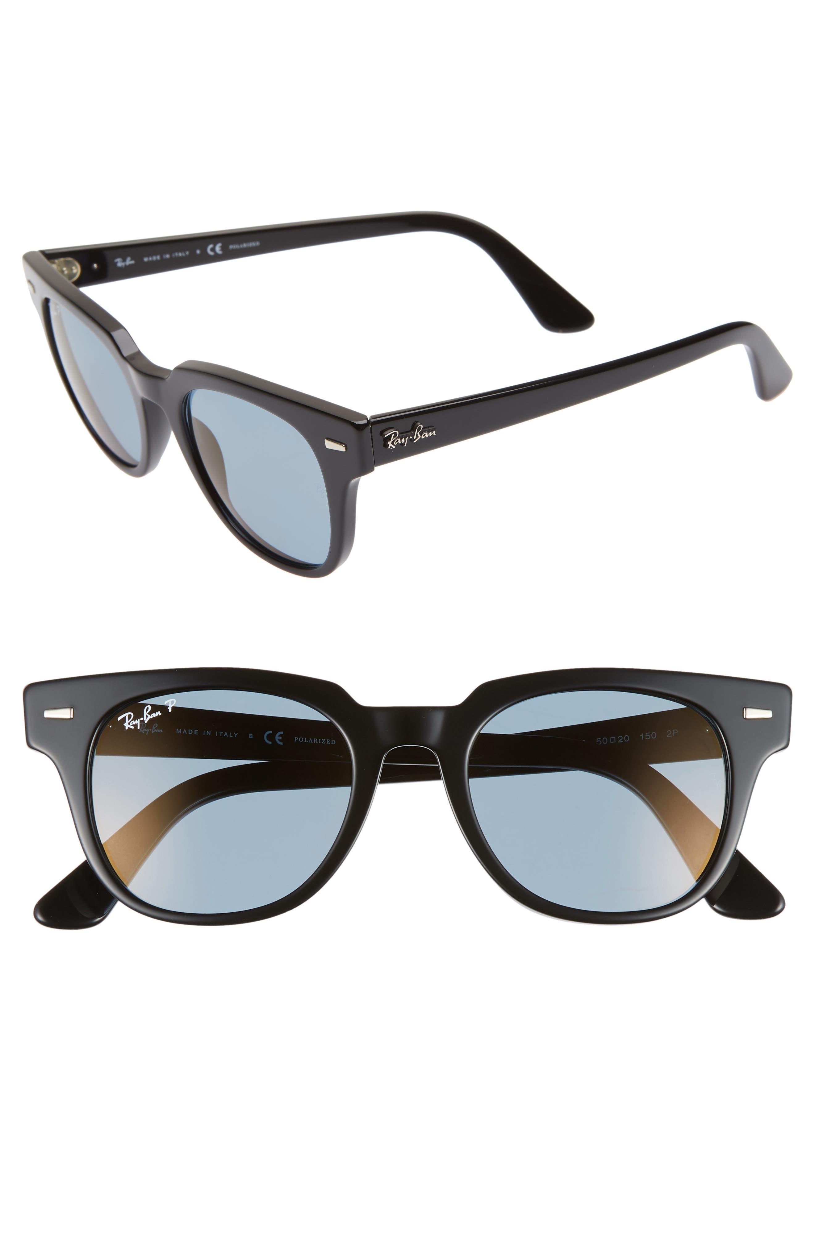 Ray-Ban Meteor 50Mm Polarized Wayfarer Sunglasses - Black/ Blue Mirror