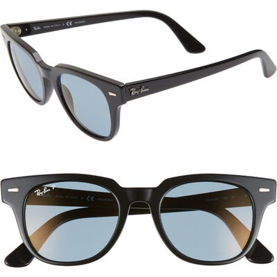 Ray-Ban Meteor 50Mm Polarized Wayfarer Sunglasses - Black/ Blue Mirror
