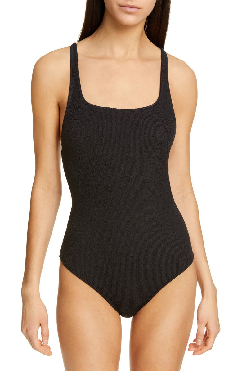 GANNI Textured One-Piece Swimsuit, Main, color, BLACK