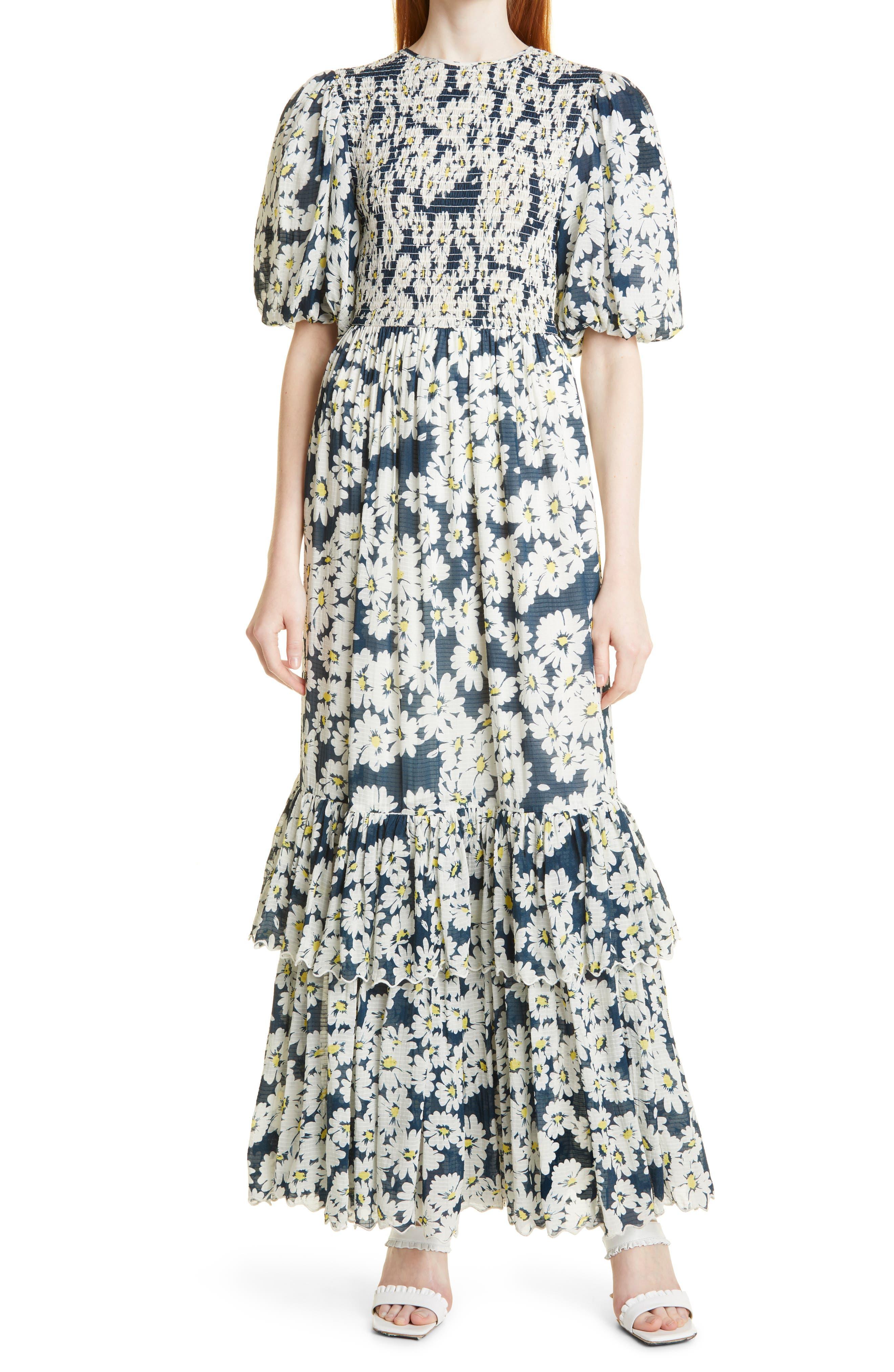 Daisy Print Dobby Check Maxi Dress