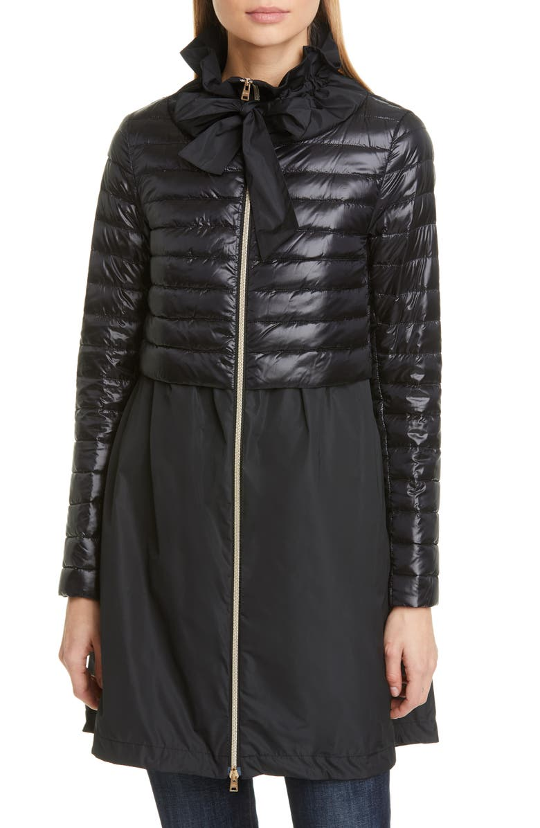 HERNO Taffeta & Quilted Down Jacket, Main, color, BLACK