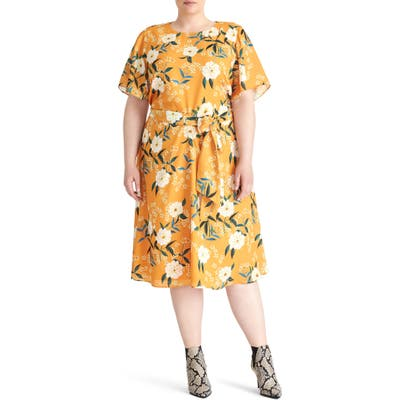 Plus Size Rachel Roy Collection Floral Print Dress, Yellow