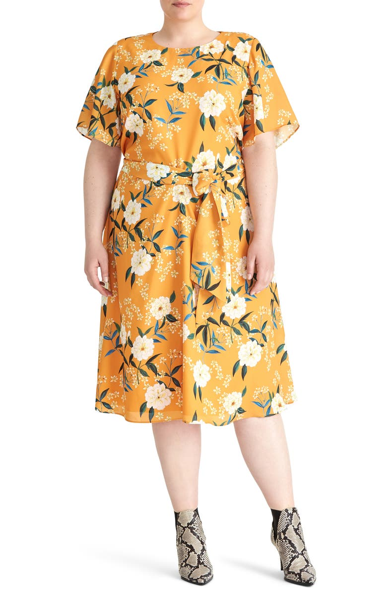 RACHEL ROY COLLECTION Floral Print Dress, Main, color, GOLDENROD COMBO