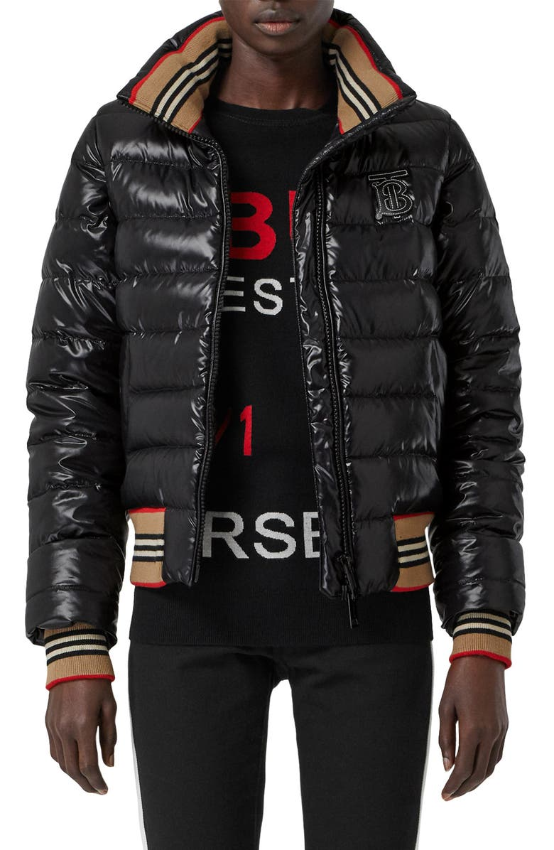 BURBERRY Hessle Detachable Sleeve Icon Stripe Down Puffer Jacket, Main, color, BLACK