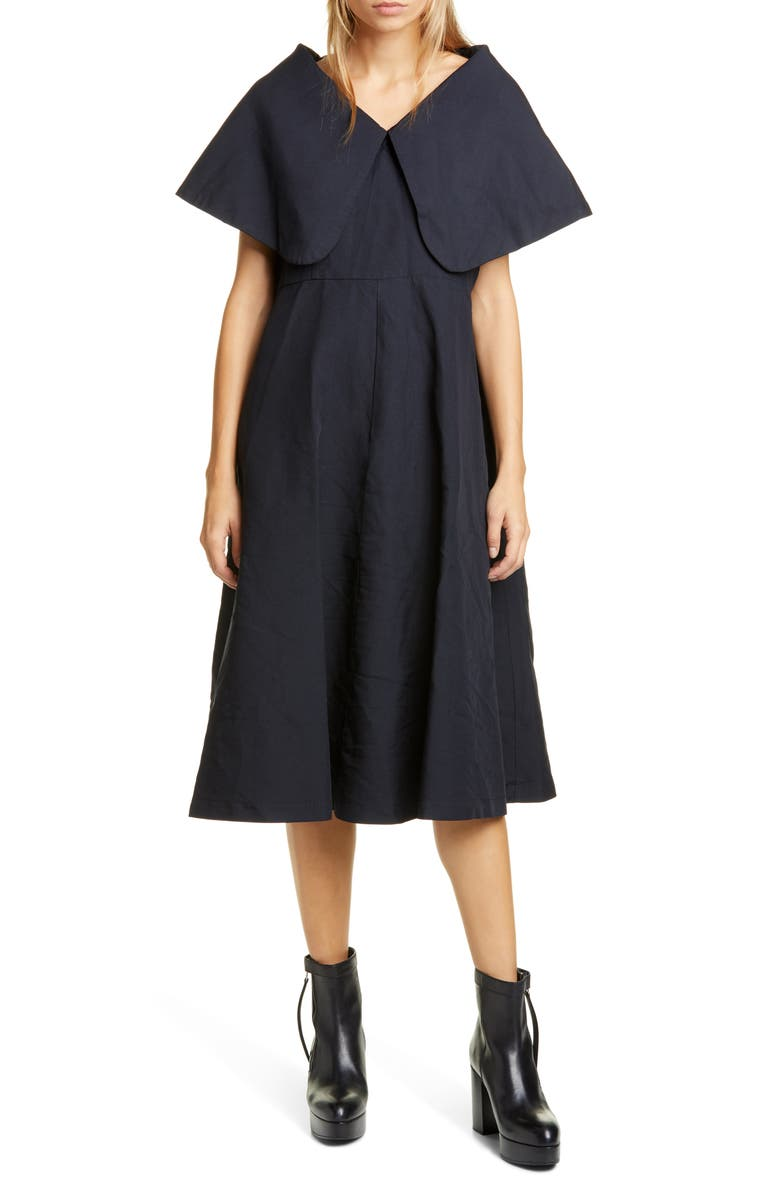 COMME DES GARÇONS Exaggerated Pilgrim Collar Midi Dress, Main, color, BLUE