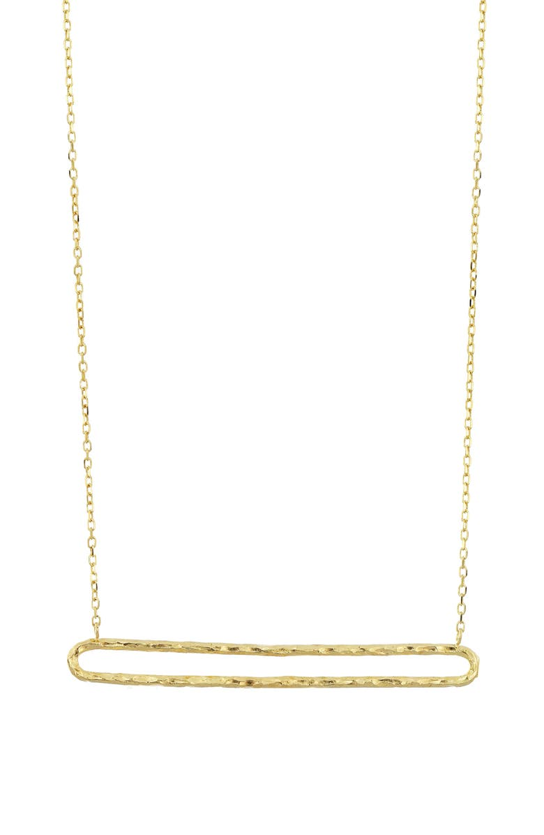BONY LEVY 14K Gold Textured Open Bar Necklace, Main, color, YELLOW GOLD