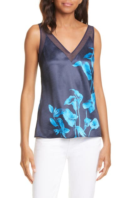 Ted Baker Jeniee Floral Print Cami In Navy