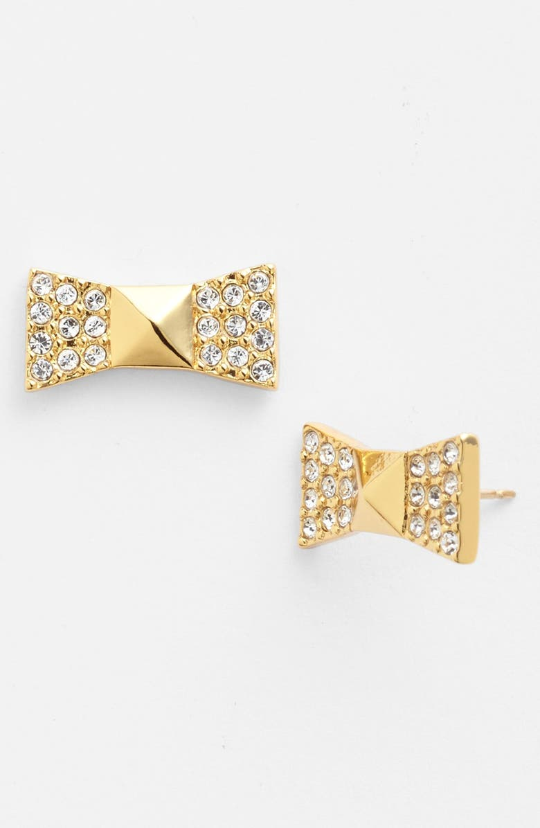 KATE SPADE NEW YORK 'locked in' pavé bow stud earrings, Main, color, 710