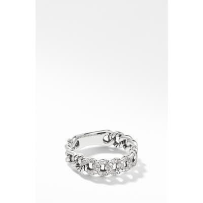 David Yurman Belmont Curb Link Narrow Ring With Pave Diamonds