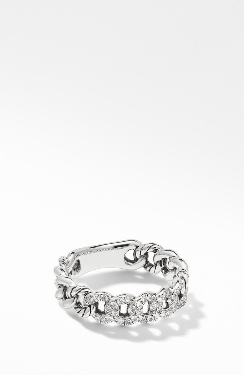 DAVID YURMAN Belmont Curb Link Narrow Ring with Pavé Diamonds, Main, color, DIAMOND