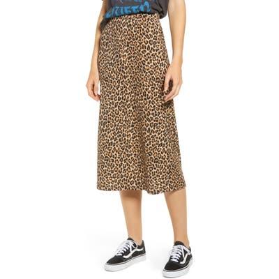 Good Luck Gem Ribbed Leopard Print Midi Skirt, Brown