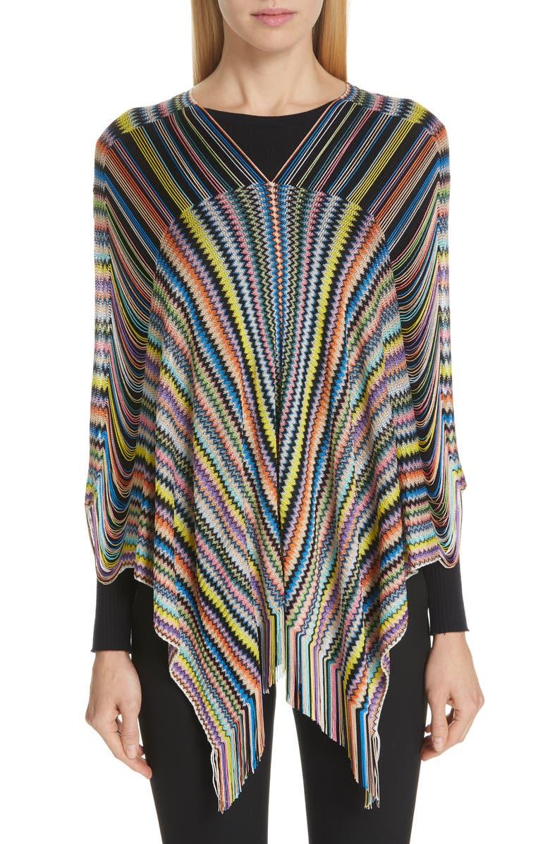 MISSONI Open Weave Shoulder Poncho, Main, color, 002