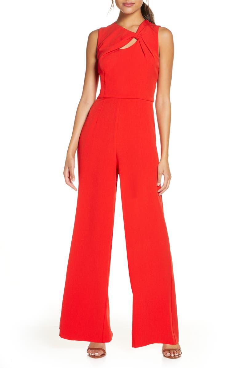 DONNA RICCO Twist Keyhole Wide Leg Crepe Jumpsuit, Main, color, CHERRY