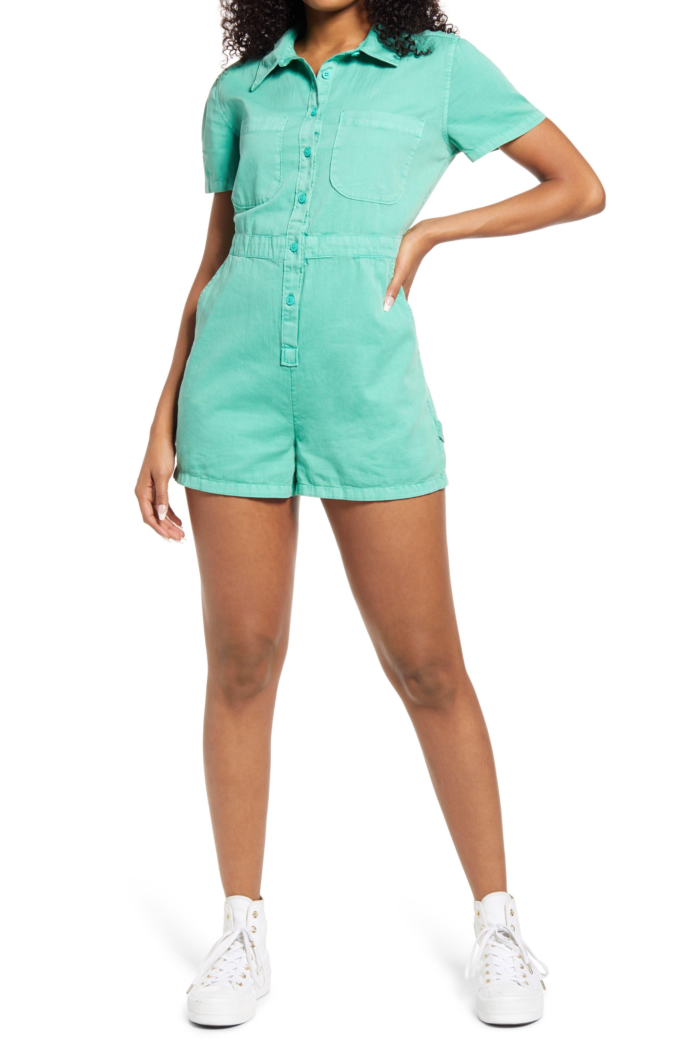 70s Shorts | Denim, High Rise, Athletic Womens Bp. Utility Button Front Romper Size Medium - Green $49.00 AT vintagedancer.com