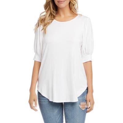 Karen Kane Shirred Sleeve Shirttail Hem Jersey Top, White