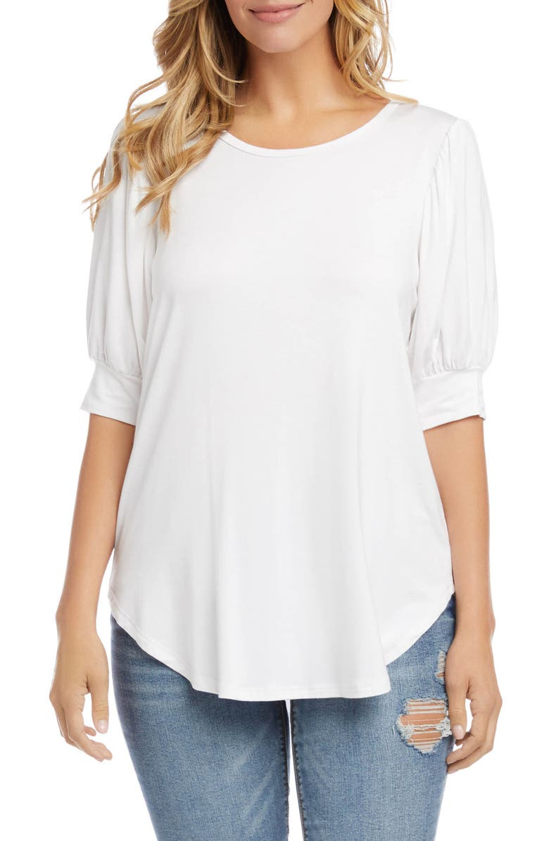 KAREN KANE Shirred Sleeve Shirttail Hem Jersey Top, Main, color, OFF WHITE