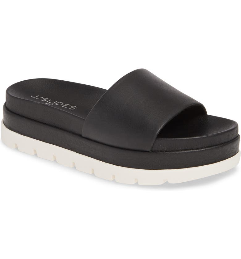 JSLIDES Bibi Platform Sandal, Main, color, BLACK LEATHER