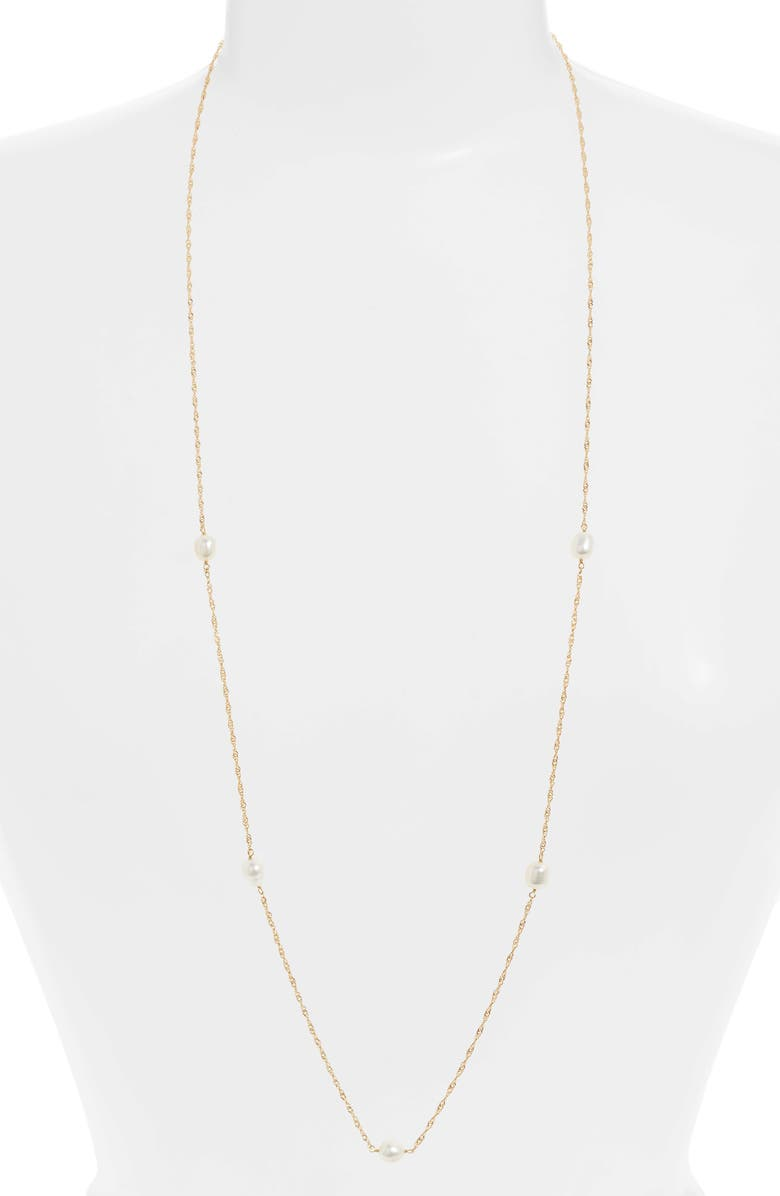 ARGENTO VIVO Long G-Pearl Station Necklace, Main, color, GOLD