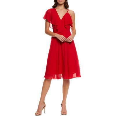 Dress The Population Claudia Asymmetrical Ruffle Cocktail Dress, Red