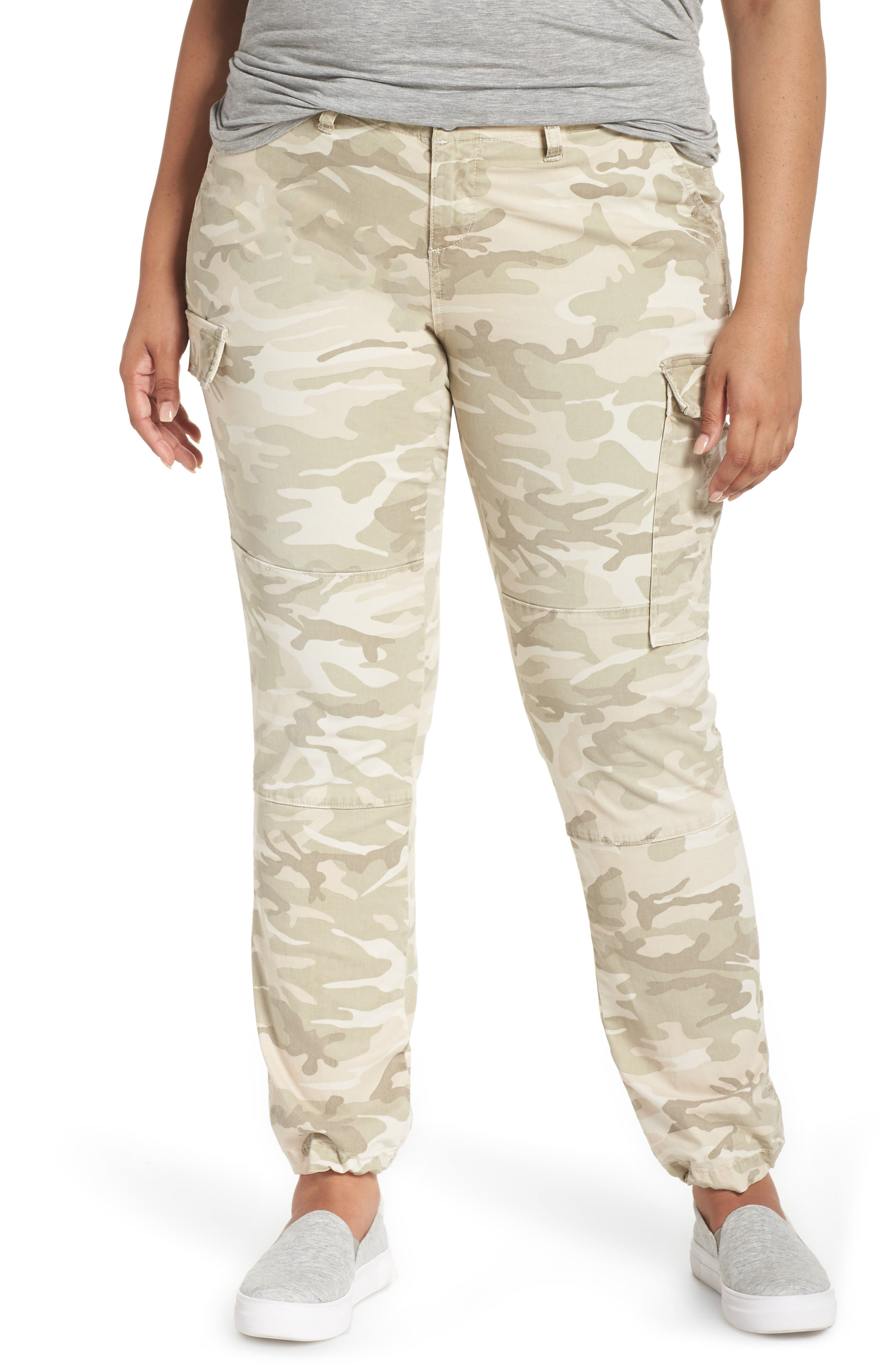 Plus Size Slink Jeans Camo Twill Cargo Pants, Ivory