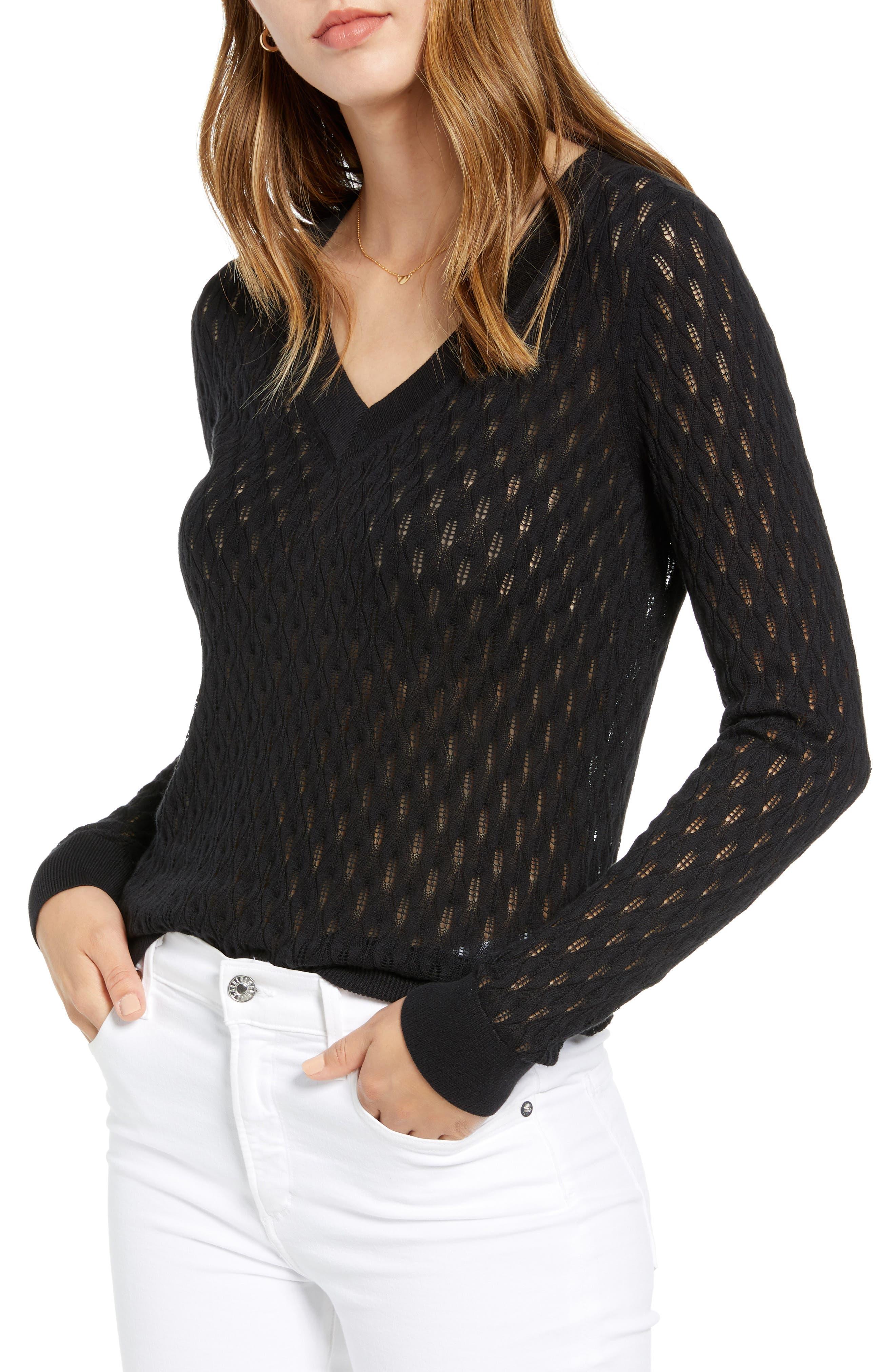 1901 V-Neck Pointelle Sweater