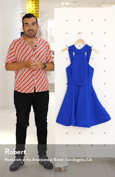 High Neck Fit & Flare Party Dress, sales video thumbnail