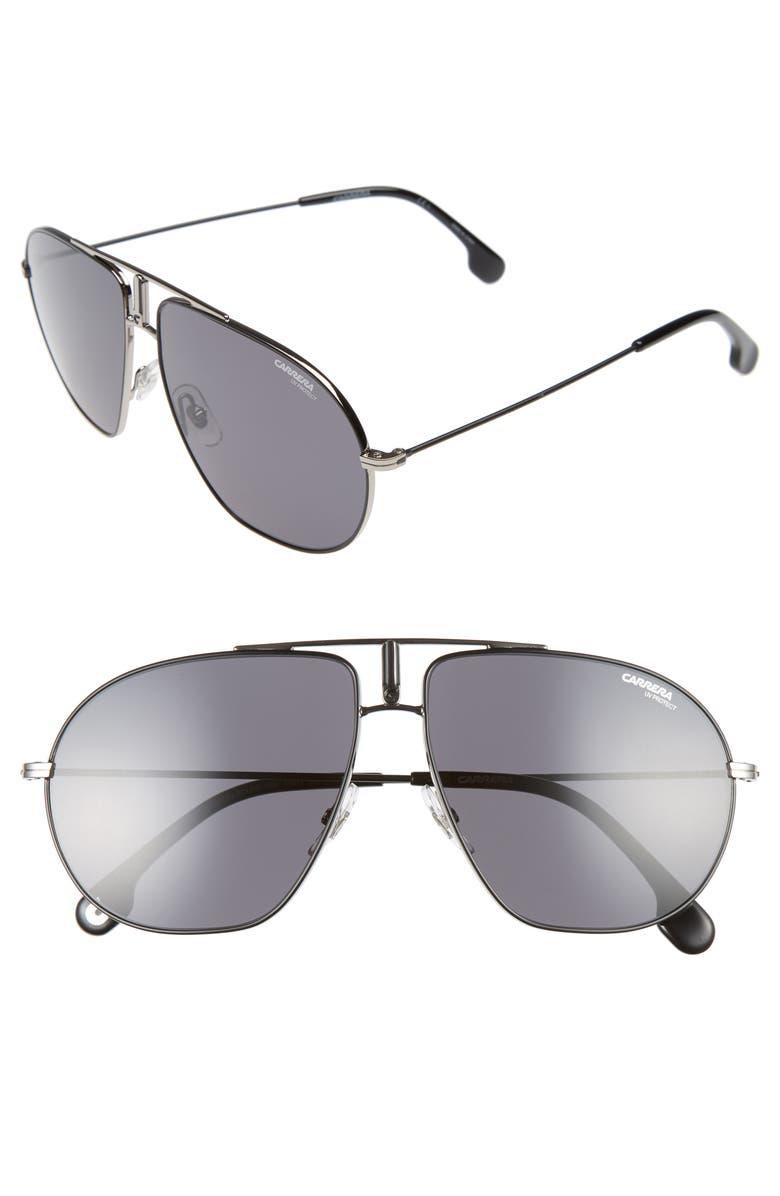 CARRERA EYEWEAR Bounds 60mm Gradient Aviator Sunglasses, Main, color, RUTHENIUM GREY/ MATTE BLACK
