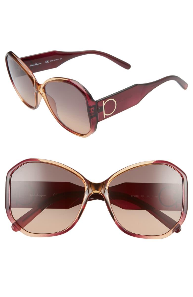 SALVATORE FERRAGAMO Gancio 61mm Butterfly Sunglasses, Main, color, WINE CARAMEL
