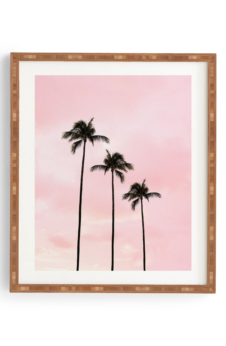 DENY DESIGNS Palm Trees & Sunset Framed Wall Art, Main, color, PINK