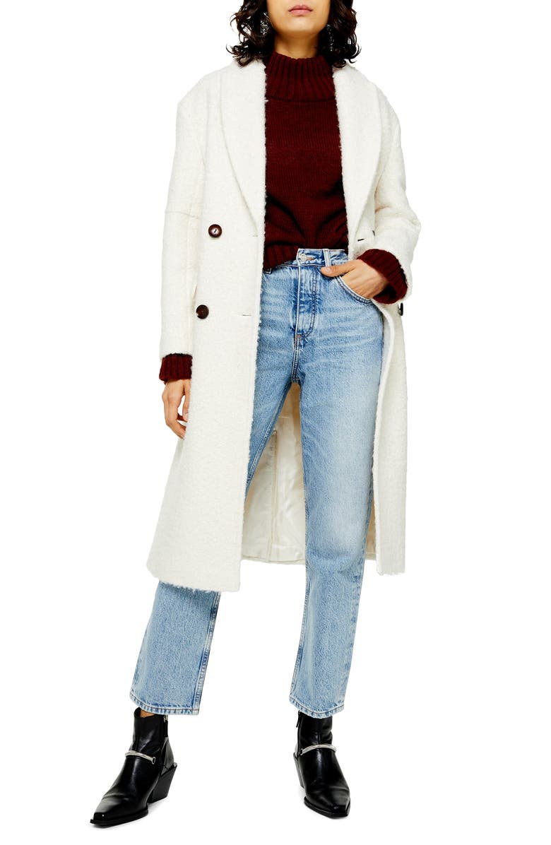 TOPSHOP Kim Bouclé Coat, Main, color, IVORY