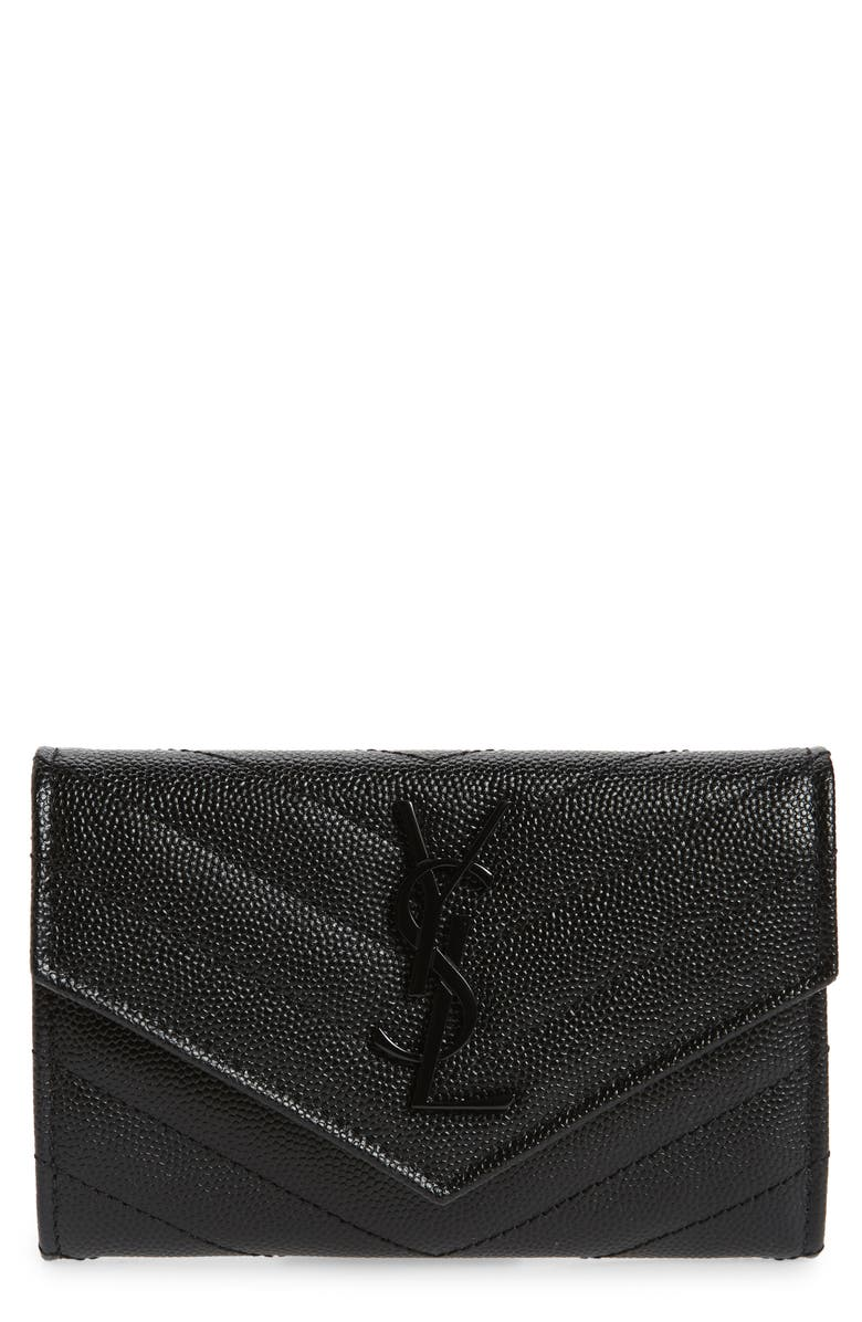 SAINT LAURENT Monogram Quilted Leather French Wallet, Main, color, NOIR