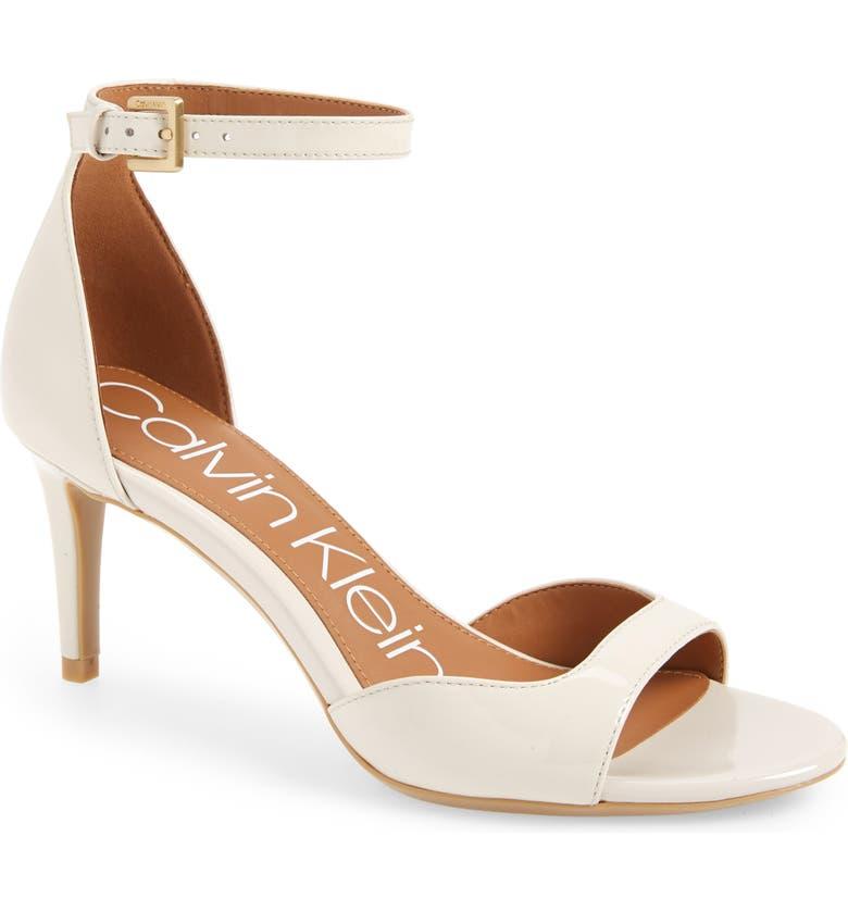 CALVIN KLEIN Luellen Ankle Strap Sandal, Main, color, SOFT WHITE PATENT
