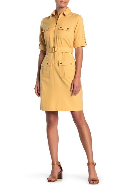 Image of Sharagano 3/4 Length Sleeve Belted Shirt Dress