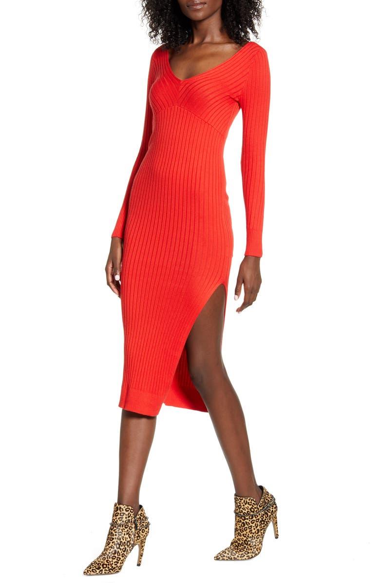 LEITH Angle Rib Long Sleeve Midi Sweater Dress, Main, color, RED LAVA