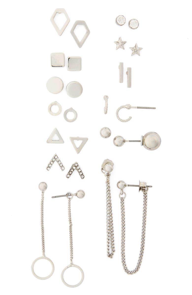 TOPSHOP Geo Stud Earrings, Main, color, 040