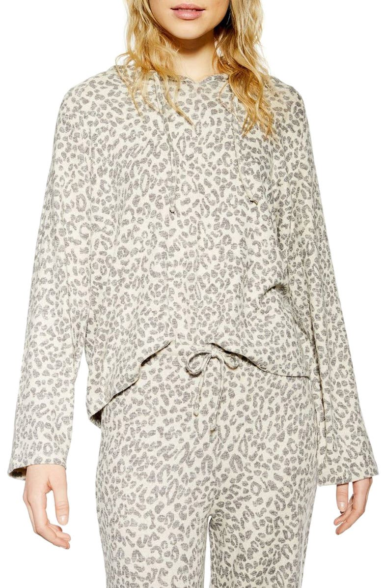 TOPSHOP Soft Lounge Hooded Sweatshirt, Main, color, BROWN MULTI