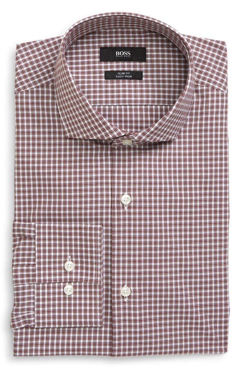 BOSS Jason Slim Fit Easy Iron Check Dress Shirt, Main, color, DARK RED