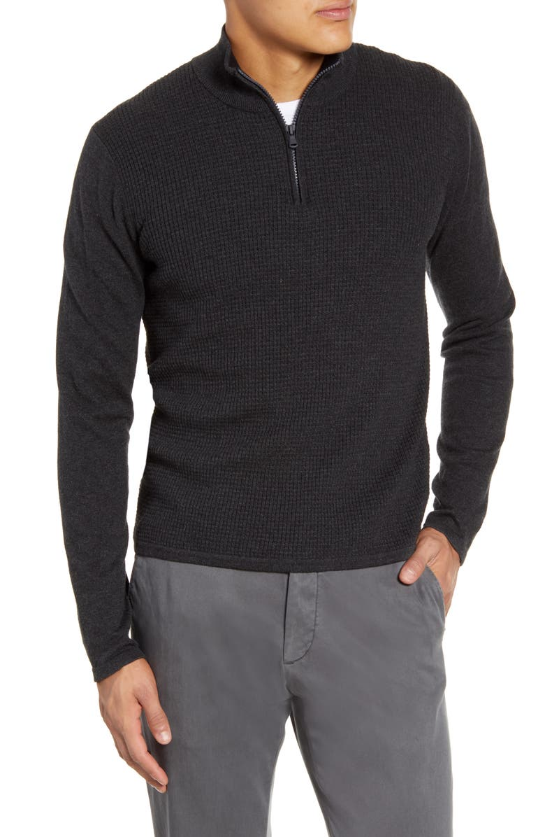 ZACHARY PRELL Higgins Quarter Zip Sweater, Main, color, CHARCOAL