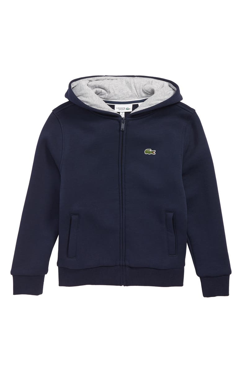 LACOSTE Sporty Fleece Full Zip Hoodie, Main, color, BLUE / SILVER