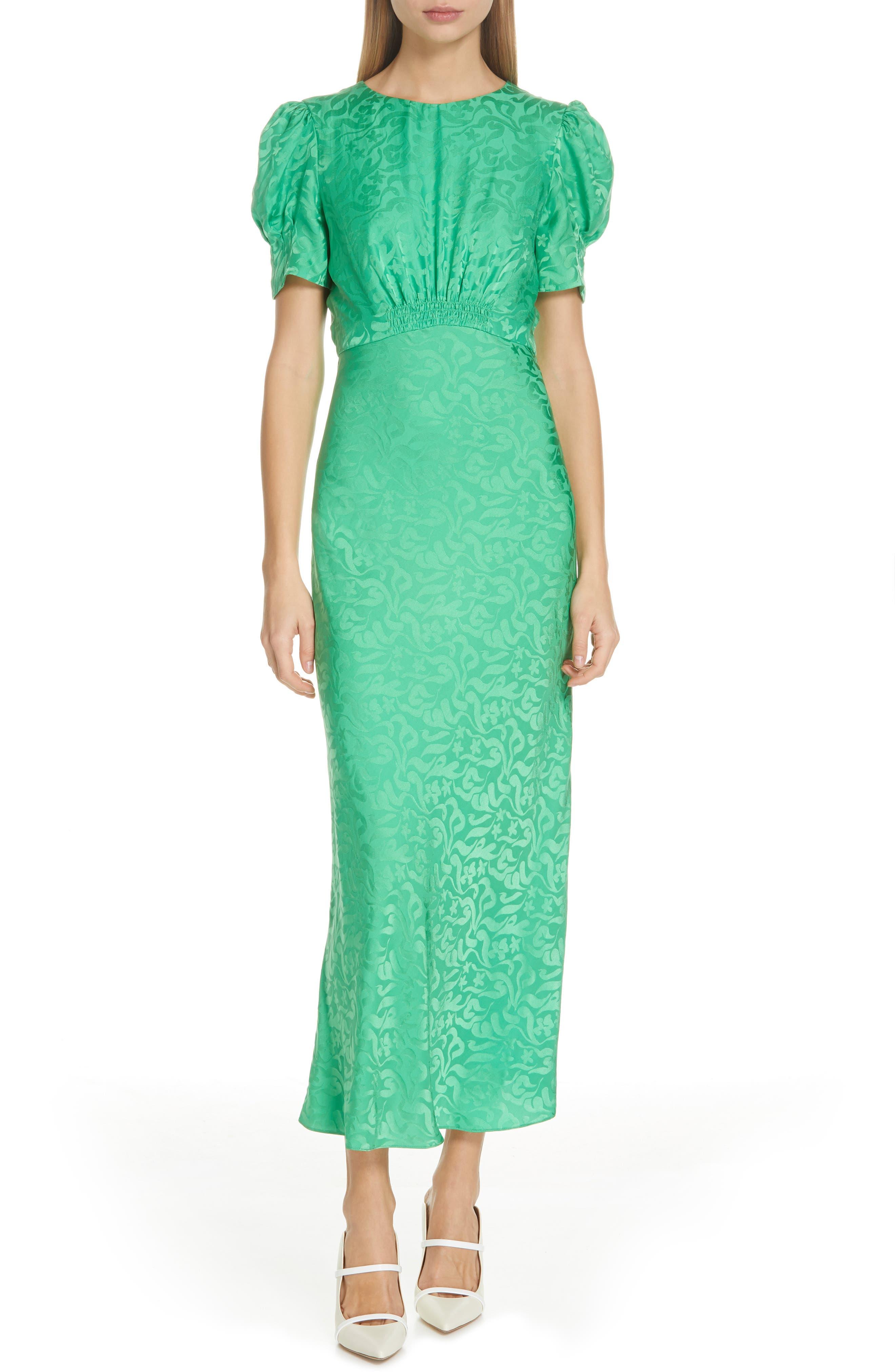 ,                             Bianca Puff Sleeve Silk Midi Dress,                             Main thumbnail 1, color,                             LEAF GREEN