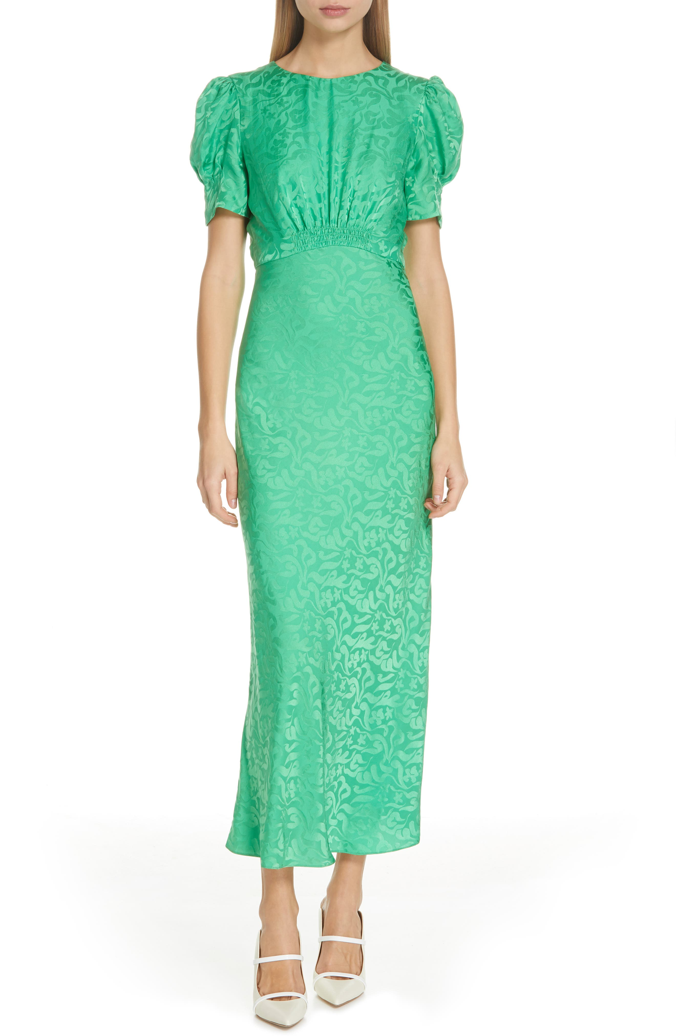 Bianca Puff Sleeve Silk Midi Dress, Main, color, LEAF GREEN