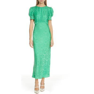 Saloni Bianca Puff Sleeve Silk Midi Dress, Green